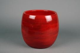 C518DQ Cache-pot en céramique rouge D26cm H22cm