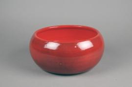 C519DQ Coupe en céramique rouge D30cm H13cm