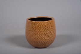 C520DQ Cache-pot céramique ocre D13cm H12cm