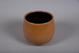 C522DQ Cache-pot céramique ocre D18cm H16cm