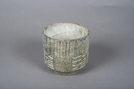 C536DQ Cache-pot en béton vert D14cm H12.5cm