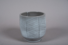 C541DQ Grey ceramic planter D21cm H23cm