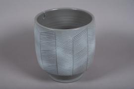 C542DQ Cache-pot en céramique gris D30cm H27cm
