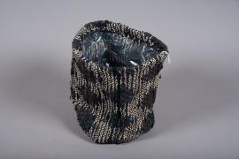 C549DQ Cache-pots panier en tissu D25cm H26cm