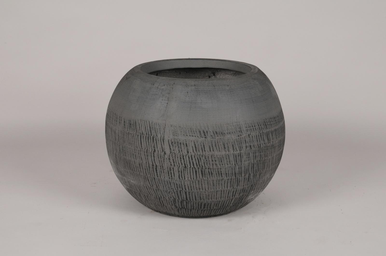 C566DQ Pot boule en béton gris anthracite D36cm H28cm