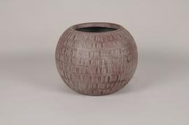 C619DQ Pot boule en béton rouge D36cm H28cm