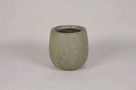 C628DQ Pot en béton vert D23cm H23cm