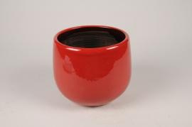 C666DQ Cache-pot en céramique rouge D18cm H16cm