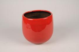 C667DQ Cache-pot en céramique rouge D20cm H19cm