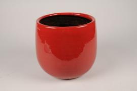 C668DQ Cache-pot en céramique rouge D24cm H21.5cm