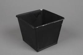 A003GF Square zinc planter black length 13cm width 13cm height 11cm