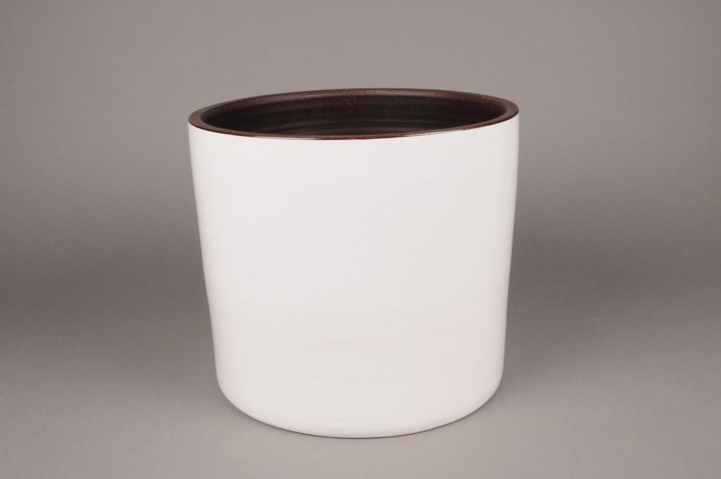 A163QS Cache-pot céramique blanc D27cm H26cm
