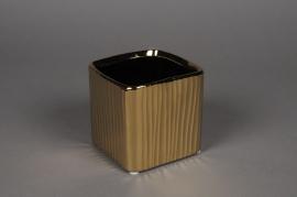 A128UD Cache-pot cube en céramique or 10x10cm H10cm