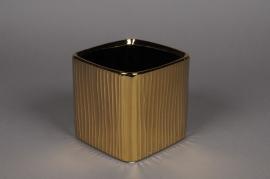 A125UD Cache-pot cube en céramique or 13x13cm H13cm