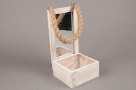 A185U7 Cache-pot en bois miroir H29cm
