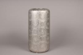 A127VO Cache-pot en céramique argent avec motifs D20cm H40cm