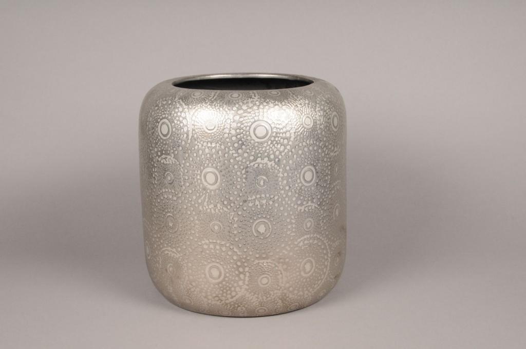 A129VO Cache-pot en céramique argent avec motifs D30cm H32cm