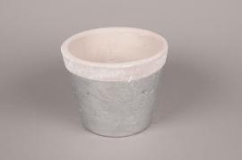 A021H8 Cache-pot en céramique argent D19cm H15.5cm
