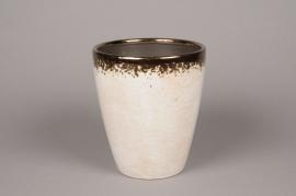 A027BS Cache-pot en céramique balnc D17cm H20cm