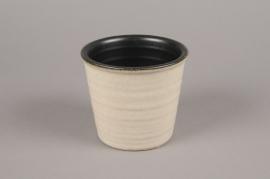 A132VU Cache-pot en céramique beige D12.5cm H11cm