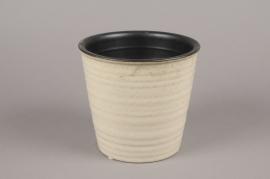 A136VU Cache-pot en céramique beige D16cm H15cm