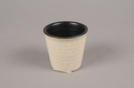 A130VU Cache-pot en céramique beige D7.5cm H7cm
