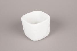 A245HX Cache-pot en céramique blanc 11cm x 11cm H9cm
