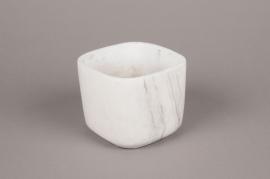 A246HX Cache-pot en céramique blanc 12.5cm x 12.5cm H10cm