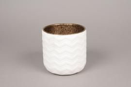A014I4 Cache-pot en céramique blanc D14cm H14cm