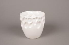 A022M6 Cache-pot en céramique blanc D12cm H12cm