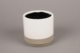 B300WV Cache-pot en céramique blanc D13cm H13cm