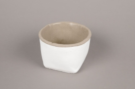 A001H8 Cache-pot en céramique blanc D13cm H9cm