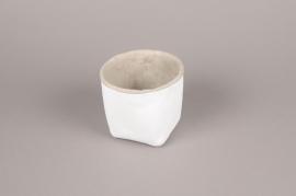 A000H8 Cache-pot en céramique blanc D14.5cm H12cm