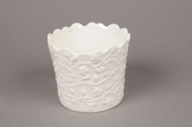 A026M6 Cache-pot en céramique blanc D15cm H13cm