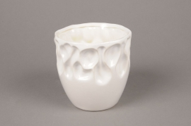 A023M6 Cache-pot en céramique blanc D15cm H15cm