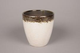 A032BS Cache-pot en céramique blanc D15cm H16cm