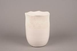 A229HX White ceramic planter D15cm H20cm