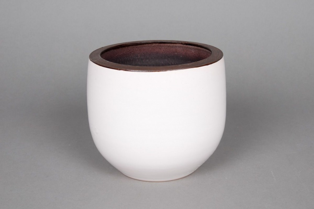 A184QS Cache-pot en céramique blanc D16 H16cm