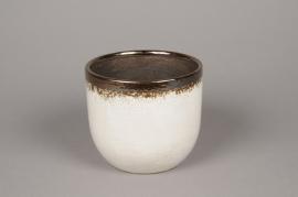 A002BS Cache-pot en céramique blanc D16cm H14cm
