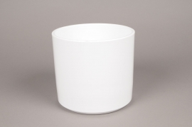 A024DO Cache-pot en céramique blanc D16cm H15cm