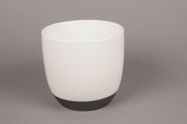 A219HX Cache-pot en céramique blanc D17cm H16cm
