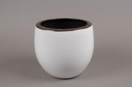 A188QS Cache-pot en céramique blanc D21 H21cm