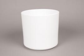 A026DO Cache-pot en céramique blanc D21cm H20cm