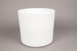 A027DO Cache-pot en céramique blanc D27cm H26cm
