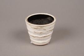 B132LE Cache-pot en céramique blanc D8cm H7cm