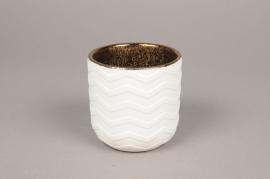 A012I4 Cache-pot en céramique blanc D9cm H9cm