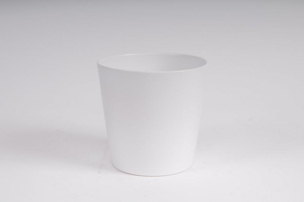 Cache-pot en céramique blanc mat D16 H15cm