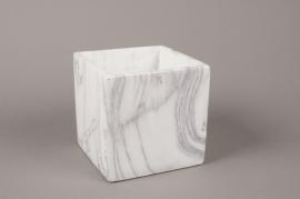 B265WV Cache-pot en céramique blanche 14cm x 14cm H14cm