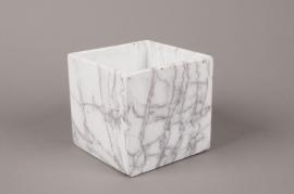B266WV Cache-pot en céramique blanche 15.5cm x 15.5cm H15.5cm