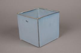 B414WV Cache-pot en céramique bleu 17cm x 17cm H15cm
